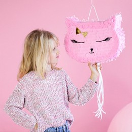 Rózsaszín Cica Fej Parti Pinata