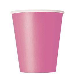 Hot Pink Papír Parti Pohár - 270 ml, 8 db-os