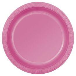 Hot Pink Műanyag Parti Tányér - 23 cm, 8 db-os