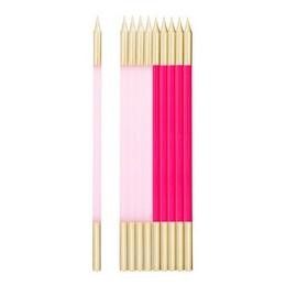 Rózsaszín Pink Arany Szülinapi Gyertya - 10 db-os