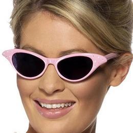 Rózsaszín Rock & Roll Szemüveg Strasszokkal