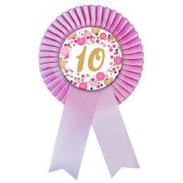 Rózsaszín Szalagos 10-es Pasztell Konfettis Szülinapi Számos Parti Kitűző