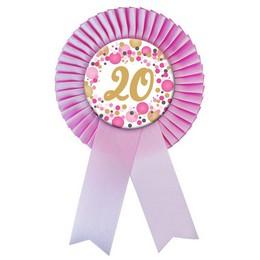 Rózsaszín Szalagos 20-as Pasztell Konfettis Szülinapi Számos Parti Kitűző