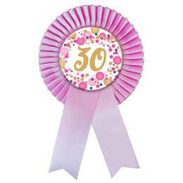 Rózsaszín Szalagos 30-as Pasztell Konfettis Szülinapi Számos Parti Kitűző