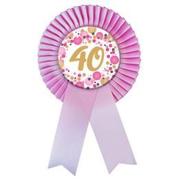 Rózsaszín Szalagos 40-es Pasztell Konfettis Szülinapi Számos Parti Kitűző