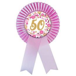 Rózsaszín Szalagos 50-es Pasztell Konfettis Szülinapi Számos Parti Kitűző