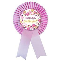 Rózsaszín Szalagos Boldog Szülinapot! Rózsaszín Pasztell Konfetti Kitűző