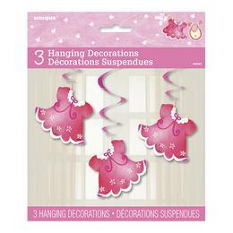 Rózsaszín Bébiruhák Spirális Függő Dekoráció - 66 cm, 3 db-os
