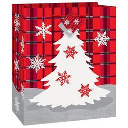 Rusztikus Fenyőfa Mintás Karácsonyi Ajándéktasak