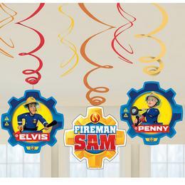 Fireman Sam - Tűzoltó Spirális Függő Dekoráció - 6 db-os