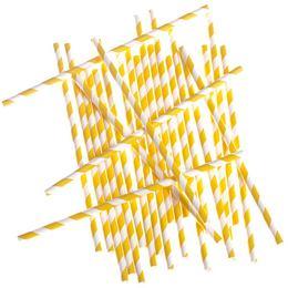 Sárga-Fehér Csíkos Papír Parti Szívószál - 24 db-os, 19,5 cm