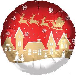 18 inch-es Satin Santa Village Karácsonyi Fólia Lufi