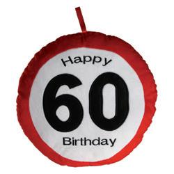Happy Birthday 60-as Sebességkorlátozó Plüss Párna