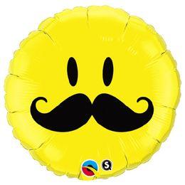 18 inch-es Bajuszos Sárga Mosolygós Arc - Smile Face Mustache Fólia Lufi