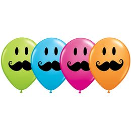 11 inch-es Smile Face Mustache Special Assortment Lufi (25 db/csomag)