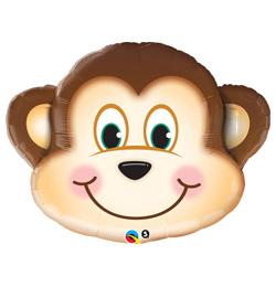 14 inch-es Mischievous Monkey - Mosolygós Majom Fej Fólia Lufi (5 db/csomag)
