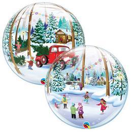 22 inch-es Snowscape & Antique Truck Karácsonyi Bubble Lufi