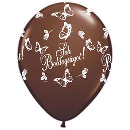 11 inch-es Sok Boldogságot Chocolate Brown Lufi Esküvőre (25 db/csomag)