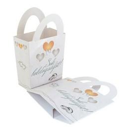 Sok Boldogságot! Szívek és Galambok Ezüst Esküvői Ajándéktasak - 10 db-os