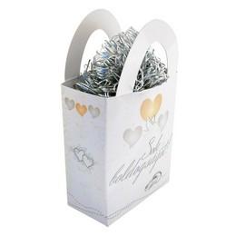 Sok Boldogságot! Szívek és Galambok Ezüst Esküvői Ajándéktasak Léggömbsúly - 120 gr