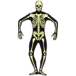 Sötétben Világító Fekete Csontváz Testhez Álló Férfi Jelmez, M-es