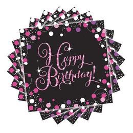 Sparkling Celebrations Pink Szülinapi Parti Szalvéta - 33 cm x 33 cm, 16 db-os