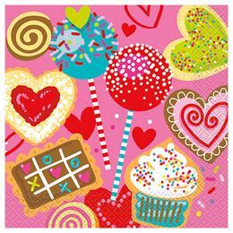 Sweet Valentine Parti Szalvéta - 33 cm x 33 cm, 16 db-os