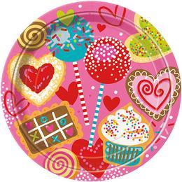Sweet Valentine Parti Tányér - 22 cm, 8 db-os