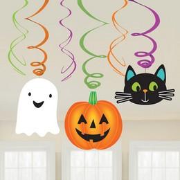 Szellem, Tök, Cica Spirális Függő Dekoráció Halloween-re, 6 db-os