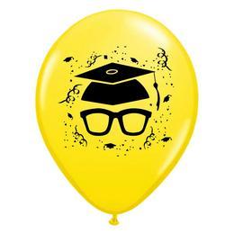 11 inch-es Szemüveges Yellow Ballagási Lufi (25 db/csomag)