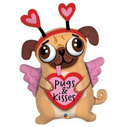 36 inch-es Pugs & Kisses - Szerelmes Mopsz Kutya Fólia Lufi Valentin-napra