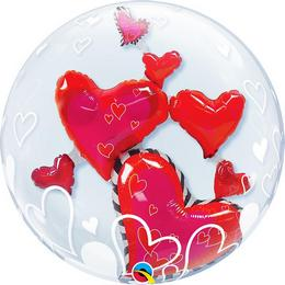 24 inch-es Lovely Floating Hearts Szerelmes Double Bubble Lufi