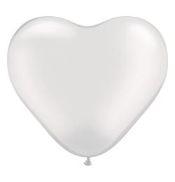 6 inch-es Pearl White Szív Latex Lufi (100 db/csomag)