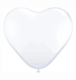 6 inch-es White (Standard) Szív Latex Lufi (100 db/csomag)