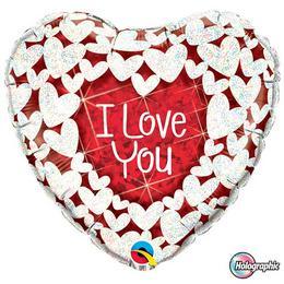 18 inch-es Szíven Szív - I Love You Red and White Szerelmes Fólia Lufi