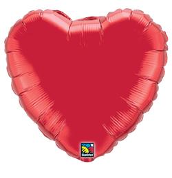 9 inch-es Rubinvörös - Ruby Red Szív Fólia Lufi (5 db/csomag)