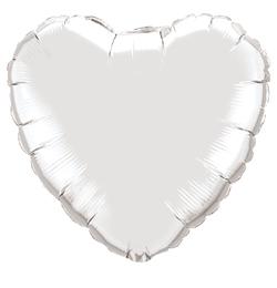 18 inch-es Ezüst - Silver Szív Fólia Lufi