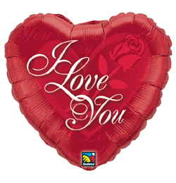 18 inch-es Rózsás Szív - I Love You Red Rose Szerelmes Fólia Lufi
