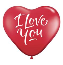 3 feet-es I Love You Script Modern Ruby Red Szív Lufi (2db/csomag)