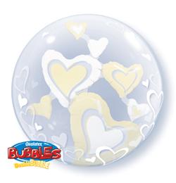 24 inch-es White és Ivory Floating Hearts Szerelmes Double Bubble Lufi