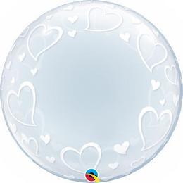 24 inch-es Stylish Hearts Szives Deco Bubble Lufi