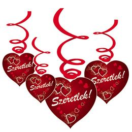 Szeretlek! Indás Szívekkel Szerelmes Függődekoráció - 6 db-os