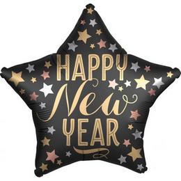 18 inch-es Satin New Year Szilveszteri Csillag Fólia Lufi