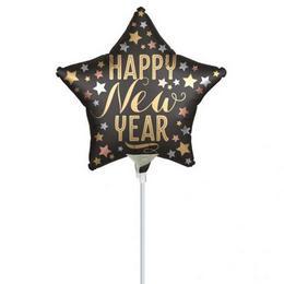 Satin New Year Szilveszteri Csillag Mini Shape Fólia Lufi (5 db/csomag)