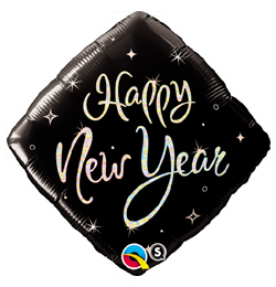 18 inch-es Fekete Szikrák - New Year Sparkle Szilveszteri Fólia Lufi