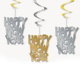 Happy New Year Feliratú Parti Spirális Függő Dekoráció, 3 db-os