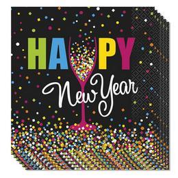 Happy New Year Szilveszteri Konfettis Szalvéta - 33 cm x 33 cm, 16 db-os