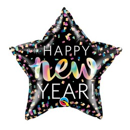 20 inch-es Színes Konfettis - Happy New Year Csillag Fólia Lufi Szilveszterre