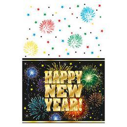 Happy New Year Fireworks Parti Asztalterítő Szilveszterre - 137 cm x 213 cm