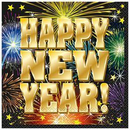 Happy New Year Fireworks Parti Szalvéta Szilveszterre - 33 cm x 33 cm, 16 db-os